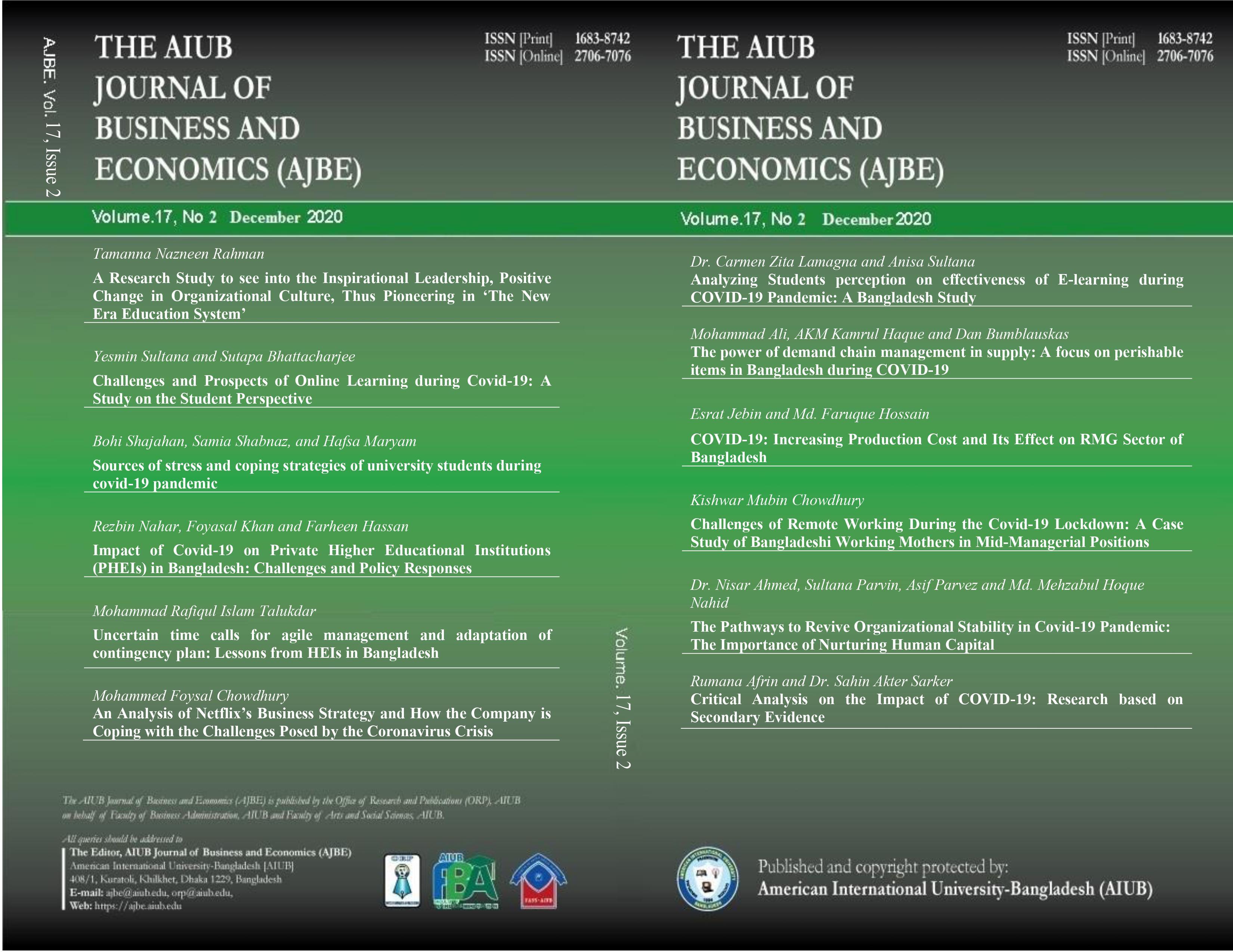 View Vol. 17 No. 2 (2020): AIUB Journal of Business and Economics [AJBE]