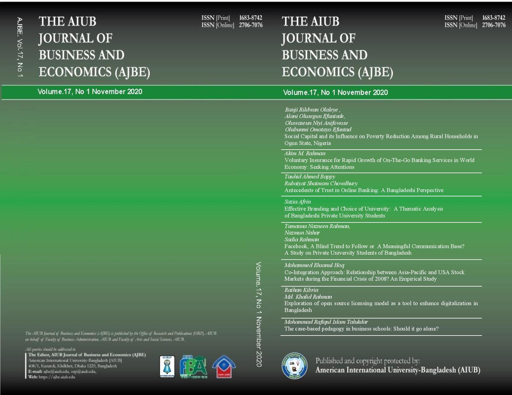View Vol. 17 No. 1 (2020): AIUB Journal of Business and Economics [AJBE]