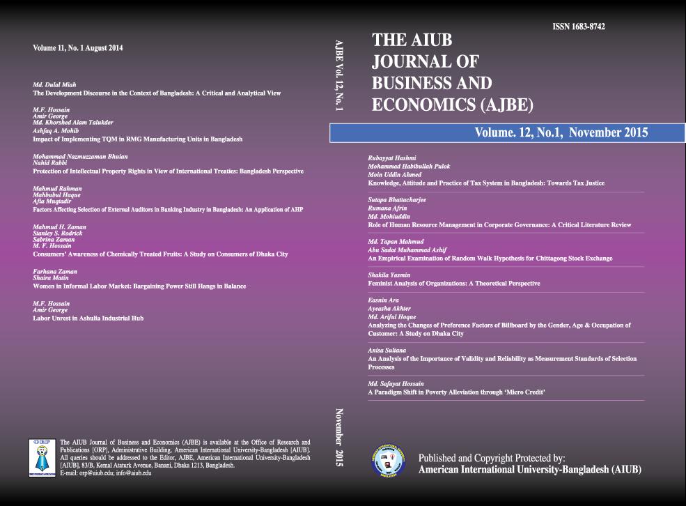 View Vol. 12 No. 1 (2015): AIUB Journal of Business and Economics [AJBE]